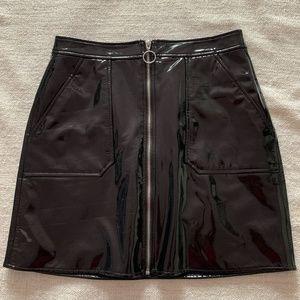 Faux Leather Full Zip Black Patent Mini Skirt - S